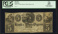 White Pigeon, MI- The Bank of White Pigeon $5 June 1, 1844 G6 Lee WHI-1-3