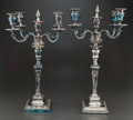 Silver Holloware, American, A PAIR OF ENGLISH SILVER-PLATED FOUR-LIGHT CANDELABRA. 20thcentury. 22 inches high (55.9 cm). PROPERTY FROM A PRIVATE TEX...(Total: 2 Items)