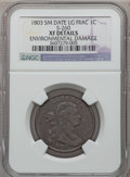 Large Cents, 1803 1C Small Date, Large Fraction, S-260, B-19, R.1 --Environmental Damage -- NGC Details. XF. PCGS Po...