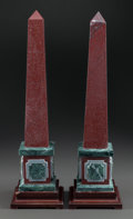 Decorative Arts, Continental, A PAIR OF RED AND GREEN MARBLE OBELISKS ON WOOD BASES. 20thcentury. 21 inches high (53.3 cm). ... (Total: 2 Items)