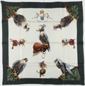 "Luxury Accessories:Accessories, Hermes Eggshell And Hunter Green ""Chasse A Vol,"" By Henri DeLinares Silk Scarf. ..."