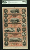 Obsoletes By State:Connecticut, Stonington, CT- The Stonington Bank $1-$1-$2-$3 G8a-G8a-G16a-G28a Uncut Remainder Sheet. ...