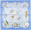 "Luxury Accessories:Accessories, Hermes Limited Edition Blue, White And Green ""Triples,"" By NicoleLambert, 2004 Silk Scarf. ..."