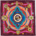 "Luxury Accessories:Accessories, Hermes Burgundy Fuschia and Blue ""La Ronde des Heures"" by LoïcDubigeon Silk Scarf. ..."