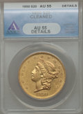 Liberty Double Eagles: , 1850 $20 -- Cleaned -- ANACS. AU55 Details. NGC Census: (214/195).PCGS Population (67/109). Mintage: 1,170,261. Numismedia...