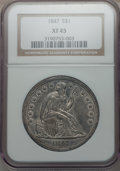 Seated Dollars: , 1847 $1 XF45 NGC. NGC Census: (57/317). PCGS Population (108/314).Mintage: 140,750. Numismedia Wsl. Price for problem free...
