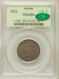 Half Cents: , 1833 1/2 C MS63 Brown PCGS. CAC. PCGS Population (69/87). NGCCensus: (67/122). Mintage: 120,000. Numismedia Wsl. Price for...