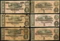 Confederate Notes:Group Lots, T68 Three Examples. T69 Three Examples. . ... (Total: 6 notes)