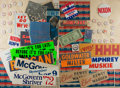 Miscellaneous:Ephemera, [Political Ephemera]. Group of Presidential Campaign Paraphernalia. Ca, 1960's and 1970's. Includes buttons, stickers, bumpe...