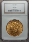 Liberty Double Eagles: , 1904 $20 MS64 NGC. NGC Census: (33909/6716). PCGS Population(30559/4369). Mintage: 6,256,797. Numismedia Wsl. Price for pr...