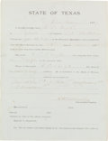 Autographs:Statesmen, [Texas Rangers]. Captain Leander H. McNelly Honorable Discharge Signed...