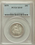 Seated Quarters: , 1879 25C XF45 PCGS. PCGS Population (6/213). NGC Census: (3/194).Mintage: 13,600. Numismedia Wsl. Price for problem free N...