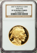 Modern Bullion Coins, 2007-W $50 One-Ounce Gold Buffalo PR70 Ultra Cameo NGC. .9999 Fine.NGC Census: (3230). PCGS Population (702). Numismedia ...