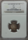 Bust Dimes, 1830 10C Medium 10C, JR-1, R.5 Good 6 NGC. This variety isdecidedly rare with no specimens in high grade having been locat...