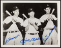 Baseball Collectibles:Photos, Mickey Mantle, Joe DiMaggio and Ted Williams Multi SignedPhotograph, PSA Gem Mint 10....