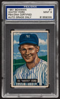 Baseball Cards:Autographs, 1951 Bowman Whitey Ford Signed Rookie Card, PSA Mint 9 Signature....