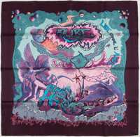 """Hermes Purple And Turquoise """"Aube,"""" By Zoe Pauwels Silk Scarf"""