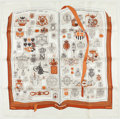"""Luxury Accessories:Accessories, Hermes White And Brown """"Chiffres Et Monogrammes,"""" By Lise Coutin Silk Scarf. ..."""