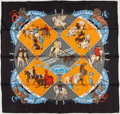 "Luxury Accessories:Accessories, Hermes Black, Blue And Red ""Musee Vivant Du Cheval,"" By Hubert DeWatrigant Silk Scarf. ..."