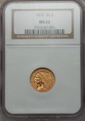 Indian Quarter Eagles: , 1910 $2 1/2 MS62 NGC. NGC Census: (2751/2313). PCGS Population(1011/1193). Mintage: 492,000. Numismedia Wsl. Price for pro...