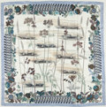 "Luxury Accessories:Accessories, Hermes Blue, Cream & Gray ""Bolide,"" By Rena Dumas Silk Scarf...."