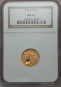 Indian Quarter Eagles: , 1914 $2 1/2 MS62 NGC. NGC Census: (2393/1359). PCGS Population(991/996). Mintage: 240,000. Numismedia Wsl. Price for probl...