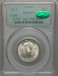 Standing Liberty Quarters: , 1917 25C Type One MS64 Full Head PCGS. CAC. PCGS Population(1701/1442). NGC Census: (1284/1112). Mintage: 8,740,000. Numis...