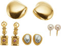 Estate Jewelry:Earrings, A GROUP OF MULTI-STONE, GOLD EARRINGS. The lot includes a pair of14k gold earrings with clip backs; a pair of cultured pear...(Total: 4 Items)