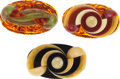 Jewelry, THREE BAKELITE BROOCHES. The lot includes three bakelite brooches weighing a total of 69.92 grams, completed by white metal ... (Total: 3 Items)