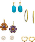 Jewelry, A GROUP OF MULTI-STONE, GOLD EARRINGS. The lot includes a pair of earrings set with round-shaped amethysts weighing a total ... (Total: 5 Items)