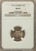 Barber Dimes: , 1916-S 10C MS65 NGC. NGC Census: (38/25). PCGS Population (47/11).Mintage: 5,820,000. Numismedia Wsl. Price for problem fr...