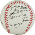 Autographs:Baseballs, Jerry Coleman Single Signed Baseball With Lengthy Inscription....