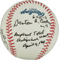 Autographs:Baseballs, Denton A. Cooley Single Signed Baseball With Heart Drawing! (Surgeon Responsible For First Heart Transplant)....