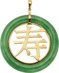 Jewelry, A JADE, GOLD PENDANT. The 'Longevity' pendant features carved jade set in 14k gold. Gross weight 20.94 grams.. Dimensions:...