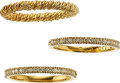 Estate Jewelry:Rings, THREE DIAMOND, GOLD RINGS. The lot includes a twisted gold band,set in 18k gold, along with two half eternity bands featuri...