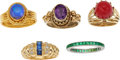 Estate Jewelry:Rings, A GROUP OF DIAMOND, MULTI-STONE, PLATINUM, GOLD, SILVER RINGS. Thelot includes a ring centering an oval-shaped opal cabocho...(Total: 5 Items)
