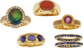 Estate Jewelry:Rings, A GROUP OF MULTI-STONE, DIAMOND, GOLD RINGS. The lot includes aring centering a black opal cabochon measuring approximately...(Total: 5 Items)