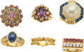 Estate Jewelry:Rings, A GROUP OF DIAMOND, MULTI-STONE, GOLD RINGS. The group includes aring featuring round-shaped rubies weighing a total of app...(Total: 6 Items)