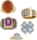 Estate Jewelry:Rings, A GROUP OF DIAMOND, MULTI-STONE, PLATINUM, GOLD, SILVER RINGS. Thelot includes a ring centering an oval-shaped carnelian ca...(Total: 5 Items)