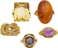 Estate Jewelry:Rings, A GROUP OF DIAMOND, MULTI-STONE, ANCIENT COIN, GOLD RINGS. The lotincludes a ring centering an emerald-cut citrine measurin...(Total: 5 Items)