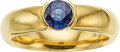 Estate Jewelry:Rings, A SAPPHIRE, DIAMOND, 18K GOLD RING, TIFFANY & CO.. The ringfeatures a round-shaped sapphire weighing 0.79 carat, set in 18k...