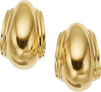A PAIR OF GOLD EARRINGS, PALOMA PICASSO FOR TIFFANY & CO. The 18k gold earrings weigh 10.40 grams, marked Paloma P...