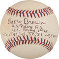 Autographs:Baseballs, Bobby Brown Single Signed Baseball With Lengthy MilitaryInscription. ...