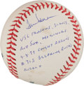 Autographs:Baseballs, Tom House Single Signed Baseball With Ruth - Aaron Inscription....