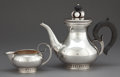 Silver Holloware, American, AN ALPHONSE LA PAGLIA SILVER COFFEE POT AND CREAMER FORINTERNATIONAL SILVER COMPANY. (American, 1907-1953), after 1952.Mar... (Total: 2 Items)
