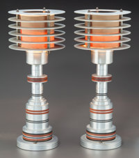 A PAIR OF WALTER VON NESSEN FOR PATTYN PRODUCTS BRASS AND BAKELITE SPACE AGE ALUMINUM LAMPS<