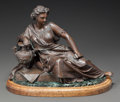 Bronze:European, A PATINATED BRONZE STATUE OF A RECLINING WOMAN ON A MARBLE AND WOODBASE. 20th century. 13 inches high (33.0 cm) (with base)...
