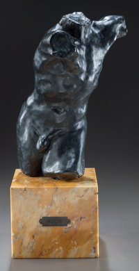 A PATINATED BRONZE FIGURE ON A MARBLE BASE, IN THE MANNER OF AUGUSTE RODIN: MALE TORSO IN MOTION