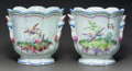 Decorative Arts, French, A PAIR OF FRENCH FAIENCE PAINTED JARDINIÈRES. 19th century. Marks:RS. 11-1/4 inches high x 11-1/2 inches diameter (28.6...(Total: 2 Items)