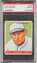 Baseball Cards:Singles (1930-1939), 1933 Goudey Eddie Moore #180 PSA Mint 9 - Pop Two, None Higher! ...
